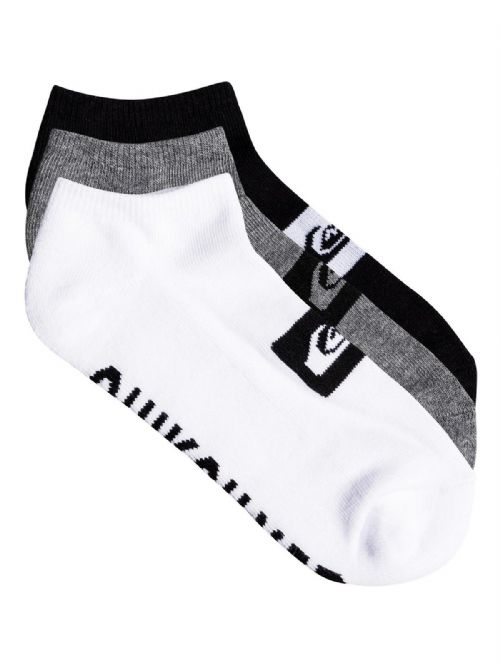 QUIKSILVER MENS SOCKS.3 PACK TRAINER ANKLE BLACK GREY WHITE UK 6 - 11 8W 667 AST